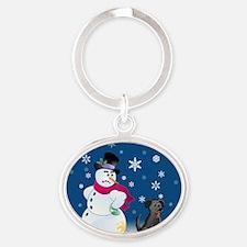 snowmanblacklab orn Oval Keychain