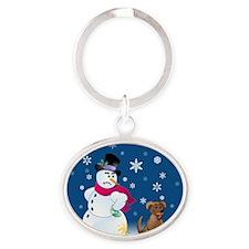 snowmanbrownlaborn Oval Keychain