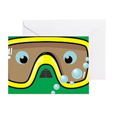 goggle_mpad_green_N Greeting Card
