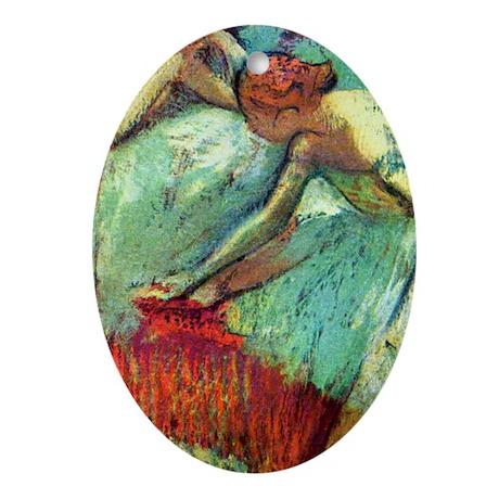 441 Degas 2Blue Oval Ornament