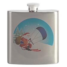 Santa Snowkite Ski Ornament Flask