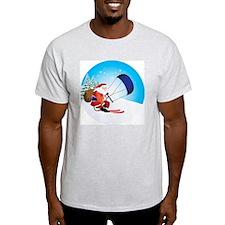 Santa Snowkite Ski Ornament T-Shirt