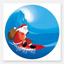 """Santa Surf Square Car Magnet 3"""" x 3"""""""