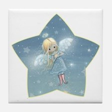 little star angel star Tile Coaster