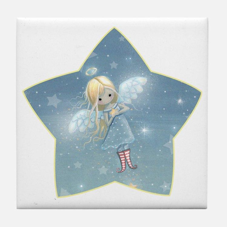 little star angel star Tile Coaster