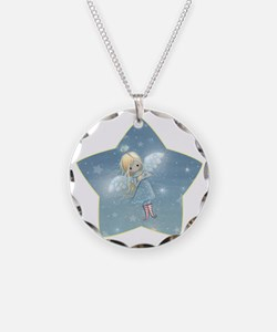 little star angel star Necklace Circle Charm