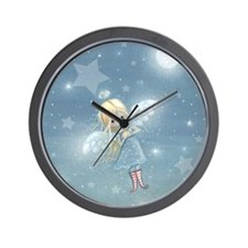 little star angel square Wall Clock