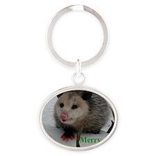 Snow Possum Oval Keychain
