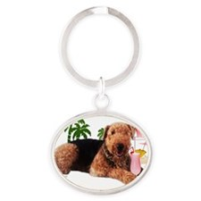 airedale with pink drink 2 copy Oval Keychain