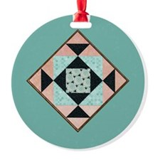 Hourglass Patch in Peach  Turquoise Ornament