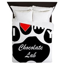 I Heart My Chocolate Lab Queen Duvet