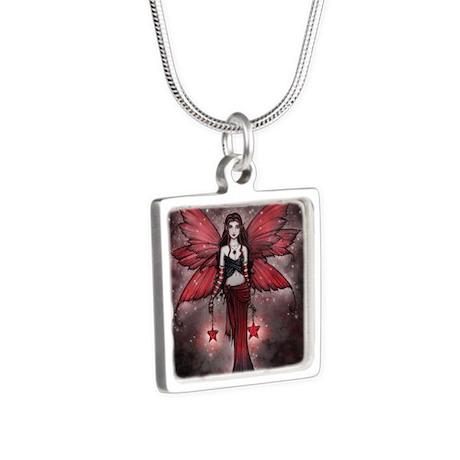crimson star digital cp Silver Square Necklace