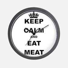 KEEP CALM AND EAT MEAT Wall Clock