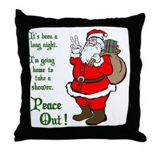 Peace Out Santa Green Lettering Throw Pillow