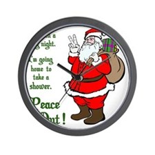 Peace Out Santa Green Lettering Wall Clock
