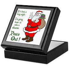 Peace Out Santa Green Lettering Keepsake Box