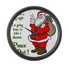 Peace Out Santa Green Lettering Large Wall Clock