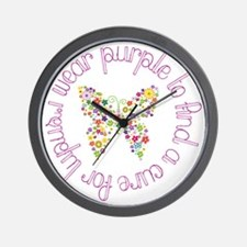Purple Butterfly for Lupus Wall Clock