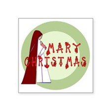 """green and red mary christma Square Sticker 3"""" x 3"""""""