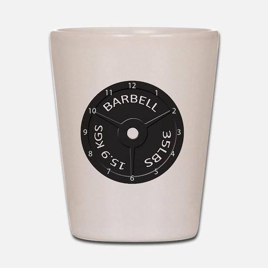 35LB barbell clock 1 Shot Glass