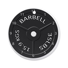 35LB barbell clock 1 Round Ornament