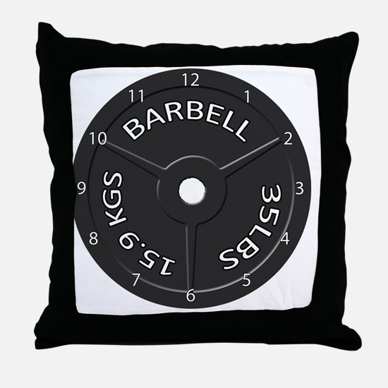 35LB barbell clock 1 Throw Pillow