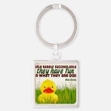 Succeed Quote on Jigsaw Puzzle Square Keychain