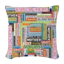 Mothers Day Square Woven Throw Pillow