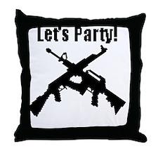 DigitalLetsPartyBlack Throw Pillow