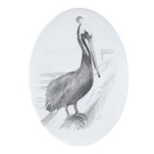 Pelican Pencil Drawing by Brooke Sco Oval Ornament