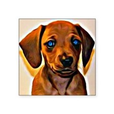 "Painted Doxie Square Sticker 3"" x 3"""