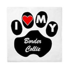 I Heart My Border Collie Queen Duvet