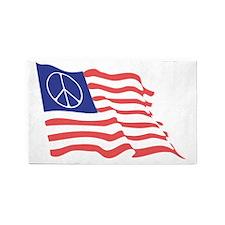 Peace Flag Black T 3'x5' Area Rug