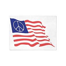 Peace Flag Black T 5'x7'Area Rug