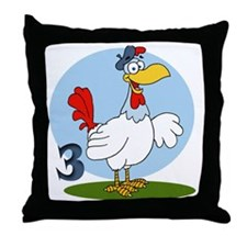 3 french Throw Pillow