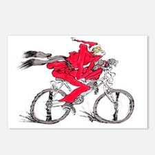 santa on a bicycle Postcards (Package of 8)