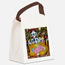 primitive folk art quilters roost Canvas Lunch Bag