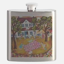 primitive folk art quilters roost keepsake b Flask