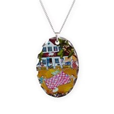 primitive folk art quilters ro Necklace