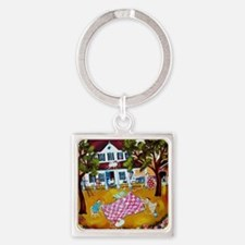primitive folk art quilters roost  Square Keychain