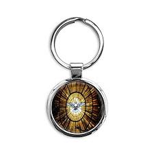 dove_window_crop_525x525 Round Keychain