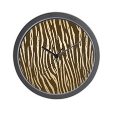 Elegant Brown and Gold Tiger Stripes Wall Clock
