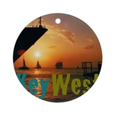 11.5x9at255SunsetShipKW Round Ornament