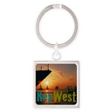 11.5x9at255SunsetShipKW Square Keychain