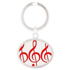 MUSIC MUSIC MUSIC RED Oval Keychain