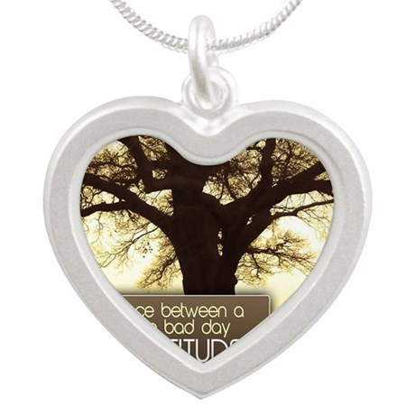 Good Day Quote on Jigsaw Puz Silver Heart Necklace