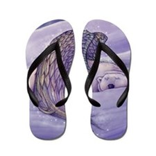 magical winged bear square Flip Flops