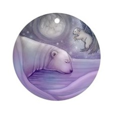 polar bear and angel cp Round Ornament