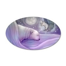 polar bear and angel cp 35x21 Oval Wall Decal