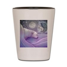 polar bear and angel cp Shot Glass
